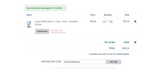 Myprotein success message at the checkout page