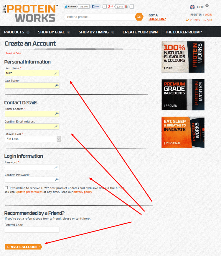 The Protein Works Registration Page