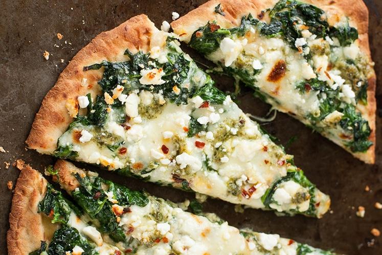 three-cheese-pesto-spinach-flatbread-pizza
