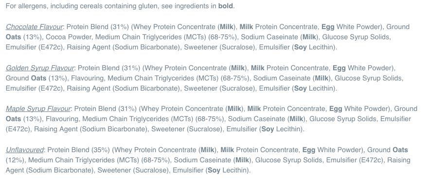 Myprotein pancake mix ingredients