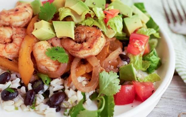 High Protein Shrimp Burrito Bowl