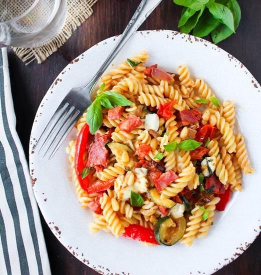 Chorizo & Roasted Veggie Pasta Salad