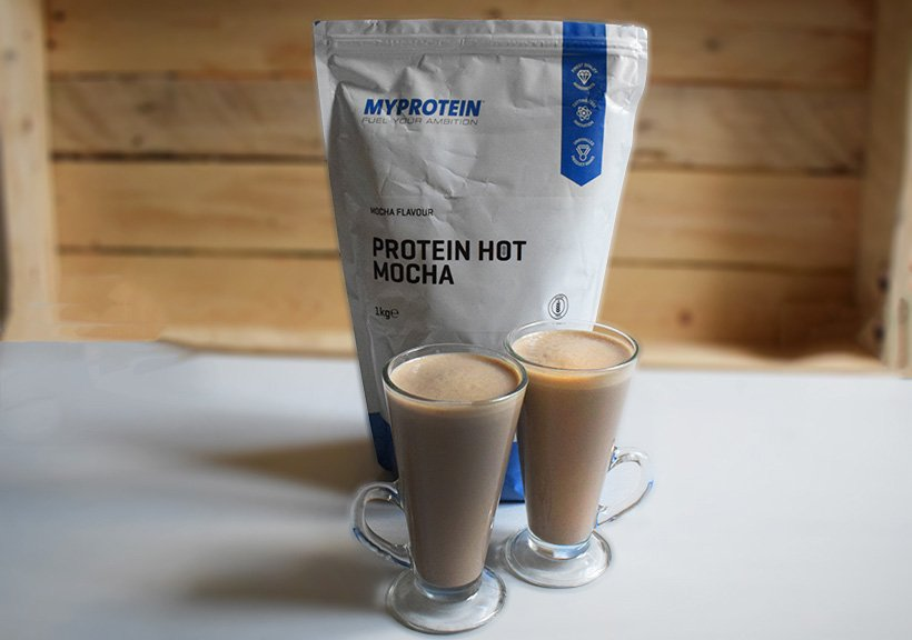 2 mugs of protein hot mocha from myprotein and the 1kg bag