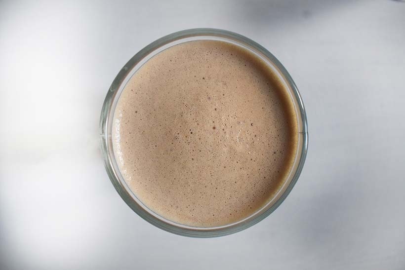 overhead view of myproteins hot protein mocha drink
