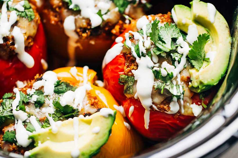 1.  Quinoa Black Bean Crockpot Stuffed Peppers