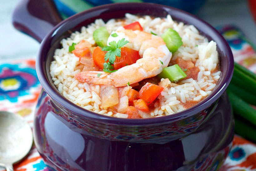 6.  Slow Cooker Chicken and Shrimp Jambalaya