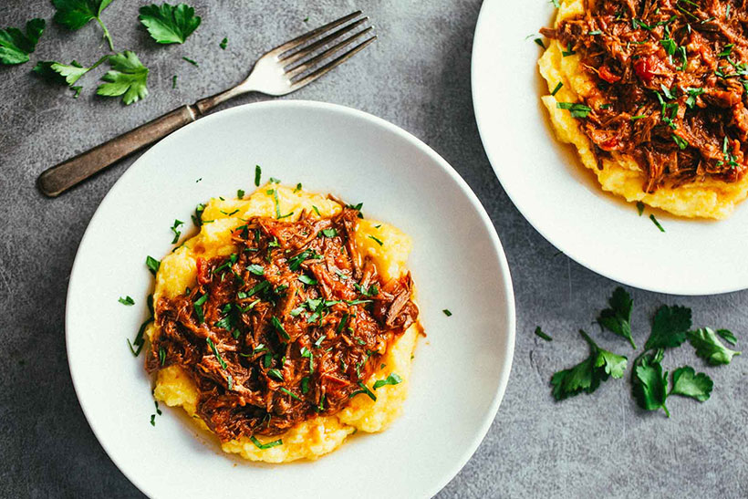 9.  Crockpot Braised Beef Ragu with Polenta