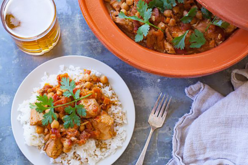 32.  Easy Crock Pot Moroccan Chicken, Chickpea and Apricot Tagine
