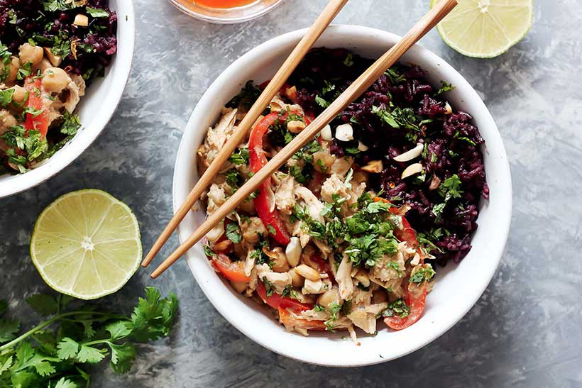 33.  Slow Cooker Thai Peanut Chicken with Sticky Coconut Purple Rice