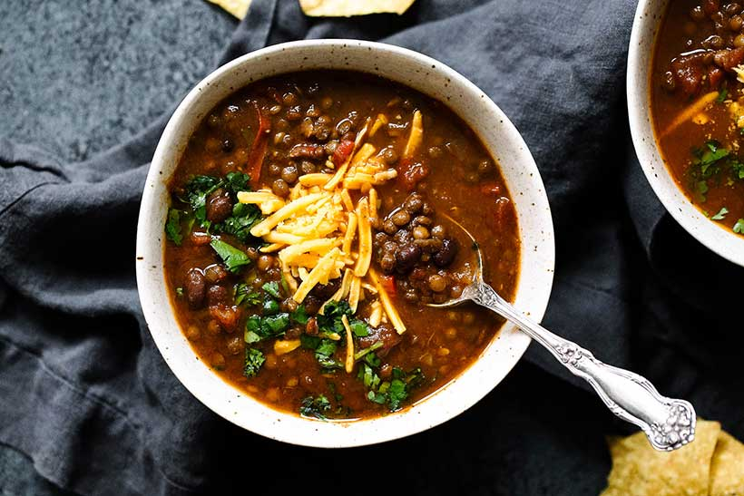 34.  Slow Cooker Taco Lentil Soup