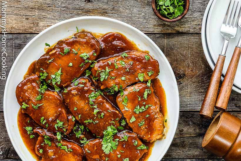 37.  Slow Cooker Honey Garlic Pork Chops