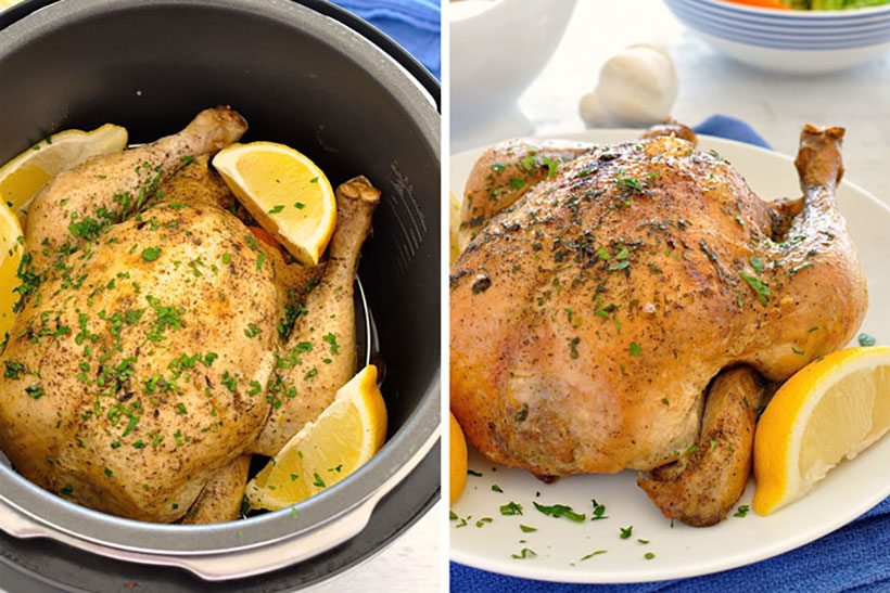 47.  Slow Cooker Lemon Garlic Roast Chicken