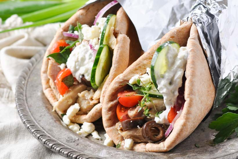 50.  Slow Cooker Greek Chicken Gyros